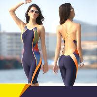Women One Piece Swimsuit Sharkskin Swimsuit Racing Training Swimwear Kneeskin