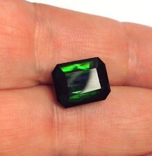 Completely Flawless Dazzling 6.22CT Natural Green Tourmaline 9x12mm Emerald Cut
