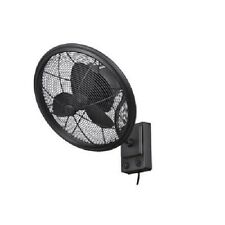 Bentley II 18 inch Oscillating Natural Iron Wall Fan And Indoor Outdoor Black