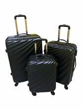 ABS Luggage Suitcase Hard Shell Light Weight 4 Wheel Spin - Set Of 3 Blue Black