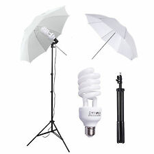 "45W 33"" Photo Studio White Umbrella Reflector Lamp Photography Stand Lighti"