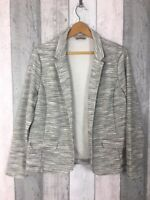 M&S Collection Grey Marl Open Front Long Sleeve Blazer Size UK 18