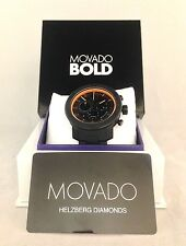 MOVADO BOLD MEN'S BLACK PVD TITANIUM BLACK DIAL CHRONO DATE SWISS WATCH #3600190