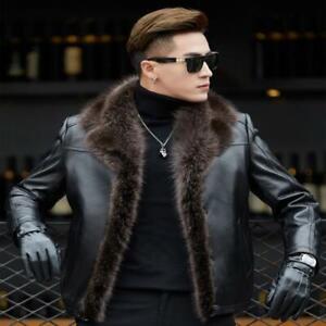 Men Raccoon Fur Collar Real Sheepskin Leather Jacket Leather Fleece Lined Coat