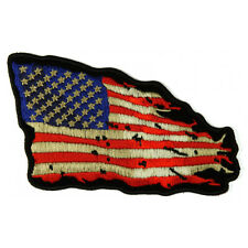 Embroidered Tattered US American Flag Iron on Sew on Biker Patch Badge