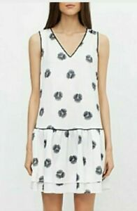 * COUNTRY ROAD * Sz 14 white Poppy Print drop waist dress