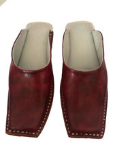 Womens mules brown leather clogs girls mules half shoes slides us 13 big size