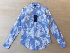 NEW Zara Man Blue White Floral Slim Fit Long Sleeve Shirt Size M NWT A58