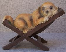 Garden Accent Dog Napping on a Chaise Lounge NEW