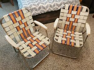 2 Vintage Aluminum Folding Lawn Chairs Matching Pair Beach Woven Webbed Camping