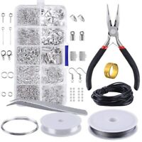 DIY Jewelry Findings Beading Making Repair Tools Kit Pliers Beads Wire Starter