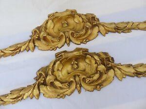 "19"" PAIR Large French Gilded Bronze Louis XVI Pediment Hardware Salvage Mirror"