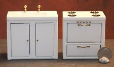 Dollhouse Miniature Sink & Stove Set White 1:12 1 inch scale E60 Dollys Gallery