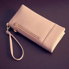 Womens Real Leather Long Wristlet Zip-around Wallet Purse Checkbook Notecase