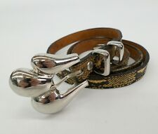 MZ Accessories of NY Snakeskin Belt 30 32 Leather Lined Yellow Black 207M Vtg