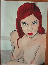 """Peinture Acrylique erotique, nu féminin, fine art """"Rousse"""" A4 21x 29,7 par SWIK"""