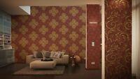 Vliestapete Barock Muster Ornament rot gold metallic Großrolle 10,65 m² / Rolle