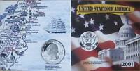 MDS USA 5 x USA STATE QUARTER SET 2001 IM FOLDER, COLORIERT