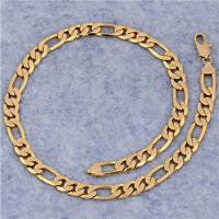 18K Yellow Gold Plated Real Man Fashion Cheap Curb Chain Necklace Genuine
