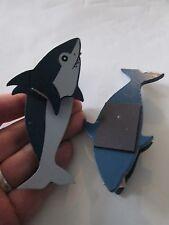 lot 2 shark clothes pin fridge magnets chip memo note clips ocean fish novelty