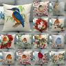 Bird Flower Redbreast Pillowslip Winter Christmas Decorative Couch Pillow Covers