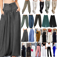 Women Ladies Palazzo Solid Flared Loose Yoga Wide Leg Pants Long Baggy Trousers