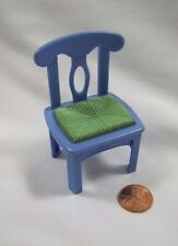 FISHER PRICE Loving Family Dollhouse BLUE KITCHEN DINING CHAIR Green Caned Seat