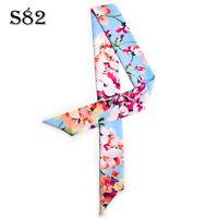 Flower Pink Blue Silk Twilly Scarf Long Bowtie Hair Handbag purse handle Wrap