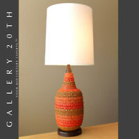 HOT! MID CENTURY DANISH MODERN ATOMIC ORANGE TABLE LAMP! VTG 50'S RAYMOR GOOGIE