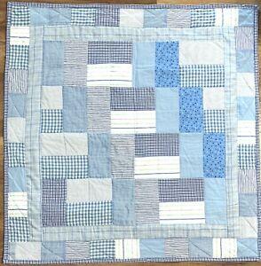 "Baby Quilt Handmade Boy's Blue Patchwork Crib Blanket 42""x42""  New"