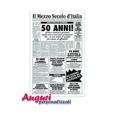 Biglietto auguri giornale compleanno 50 anni amico quotidiano regalo umoristico