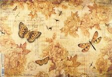 Rice Paper for Decoupage Decopatch Scrapbook Craft Sheet Vintage Butterflies