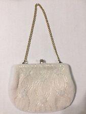 Vintage White Hand  Beaded Walborg Korean Small Purse w/ Gold Chain