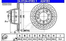 2x ATE Discos de Freno Traseros Ventilador/perforado 299mm 24.0124-0183.1
