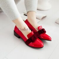 Low Heel Womens Loafers Shoes New Bowknot Pull On Patent Leather Round Toe Sizes