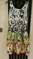 PRIMARK BNWT UK12 floral dress cotton vintage tea dress belt pink roses lined