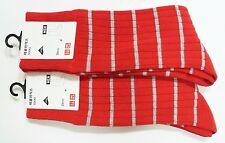 UNIQLO 2-Pairs MEN RIB STRIPE SOCKS LYCRA RED (139442)