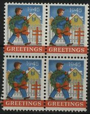 USA 1945 Christmas Seals USA block of 4 uncancelled unused
