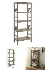 54.45 In. Drift Wood 4-Shelf Etagere Bookcase With Open Back