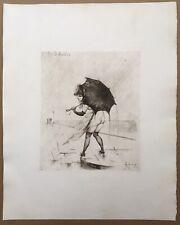 Gravure Originale Eau forte Les Giboulées Portrait Femme Erotica Joseph Apoux