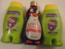 Avon Naturals Kids Mixed Bubble Bath + Body Wash Set 3  2 x Grape 1 Penquin -New