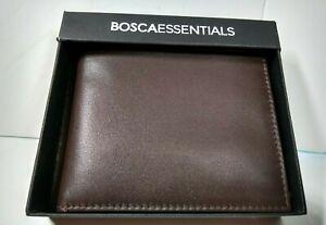 Bosca Essentials Mens Leather Slim ID Wallet Bifold Brown NWT 95-458 NWT