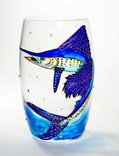 Jumping Sailfish Hand Painted Stemless Wine Glass Fishing Fisherman Gift