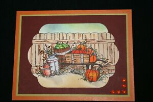 FALL Wheelbarrow small 3-1/2 RETIREDL@@k@examples Art impression rubber stamps