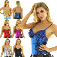 Women's Dazzling Glittery Sequins Crop Top Tank Tops Vest Bustier Corset T-Shirt