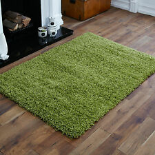 Small Modern Thick 5cm High Pile Lime Green Non Shedding Shaggy Rugs 80x150cm
