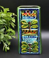 Mid Century 1960's Stunning German Schramberg Polychrome Ceramic Floral Vase