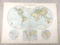 1895 World Map of Western Eastern Hemisphere Globe Old Antique 19th Century