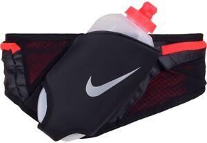 Nike 241666 Unisex Double Flask Belt Sports Water Bottle Black/Crimson One Size