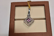 Pink Sapphire and Diamond Pendant in 14K White Gold